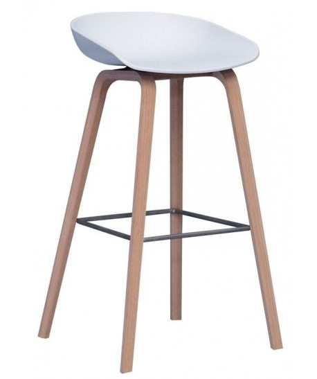 *Taburete AWAK, madera, asiento blanco