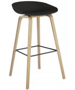 Taburete AWAK, madera, asiento negro