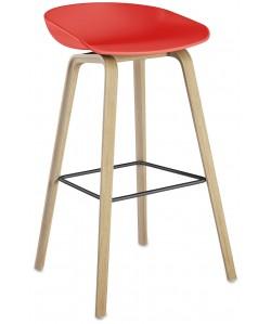 *Taburete AWAK, madera, asiento rojo
