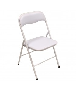 Silla FLASH NEW, plegable, metal, epoxi blanco, vinilo blanco