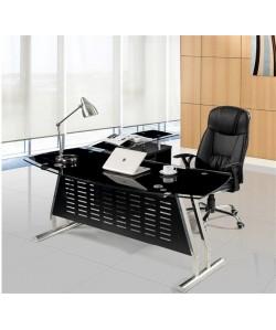 Mesa EVIAN, oval, mueble a izquierda, cristal, 180x85 cms