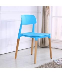 Silla CROSCAT (K), madera, polipropileno azul