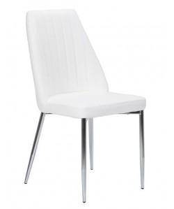 Silla MAXIM, cromada, tapizada blanca