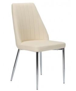 Silla MAXIM, cromada, tapizada beige