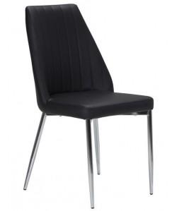 Silla MAXIM, cromada, tapizada negra