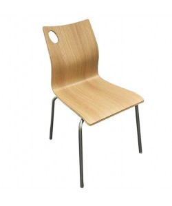 Silla AMELIE, apilable, acero inoxidable, laminado decor 8016