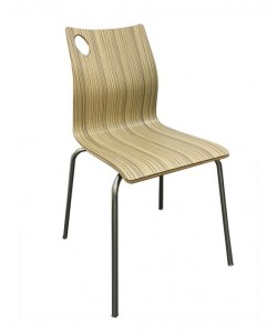 Silla AMELIE, apilable, acero inoxidable, laminado decor 8024