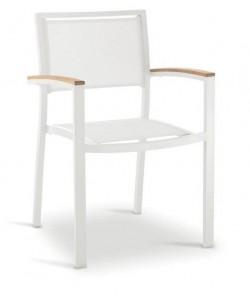 Sillón KOS, aluminio, blanco, textilene blanco