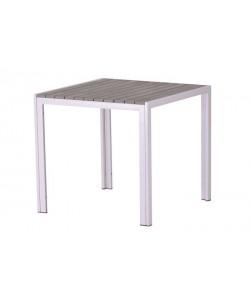 Mesa PLAYAMAR, blanca, polywood gris, 80 x 80 cms