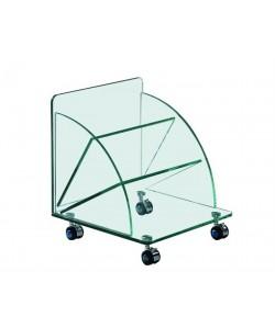 Mesa COIMBRA, baja, ruedas, cristal, 38*38*43 cms