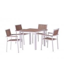 Conjunto PLAYAMAR, 4 Sillones + Mesa, metal, polywood natural