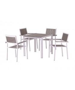 Conjunto PLAYAMAR, 4 Sillones + Mesa, metal, polywood gris