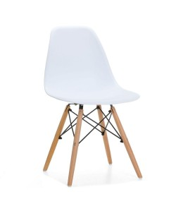 Silla TOWER PP, madera, polipropileno blanco