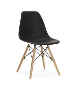 Silla TOWER PP, madera, polipropileno negro