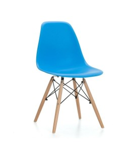 Silla TOWER PP, madera, polipropileno azul