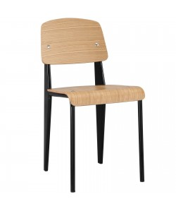 Silla JP, apilable, metal negro, laminado natural 8090