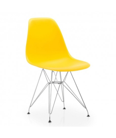 Silla TOWER, cromada, polipropileno amarillo*