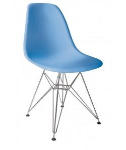 Silla TOWER, cromada, polipropileno azul*