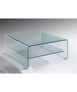 Mesa DREW, baja, cristal curvado, 80x80 cms