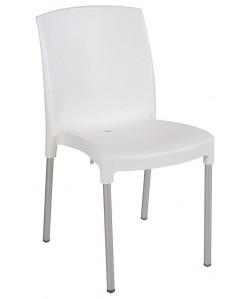 Silla JEN, aluminio, polipropileno blanco