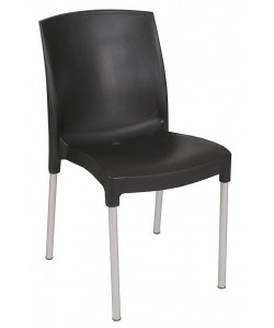 Silla JEN, aluminio, polipropileno negro