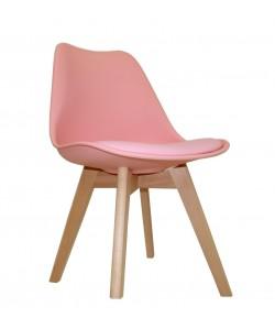 Silla TORRE 4P ( HT ), madera, polipropileno y cojín rosa