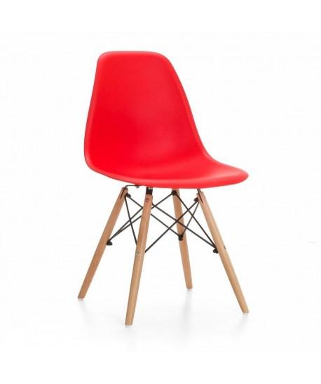 Silla TOWER PP, madera, polipropileno rojo
