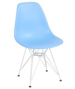 Silla TOWER, blanca, polipropileno azul claro