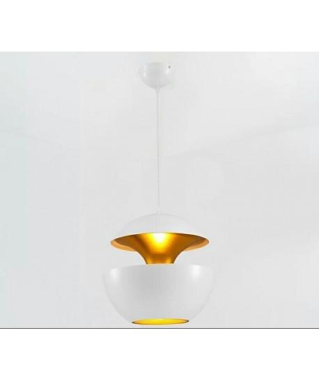 Lámpara URSULA, colgante, metal, blanco-dorado