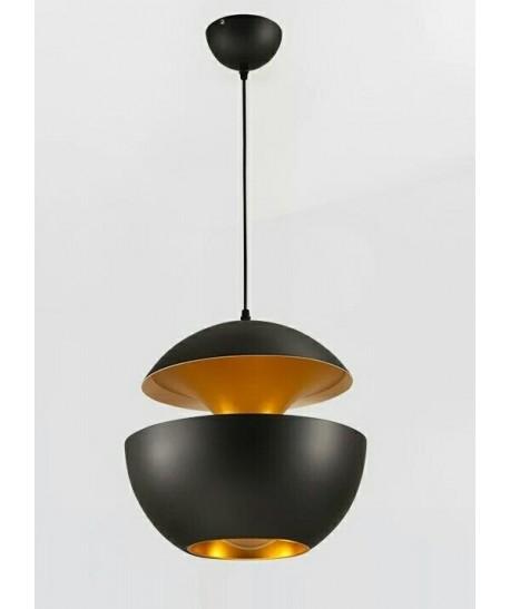 Lámpara URSULA, colgante, metal, negro-dorado