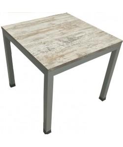 Mesa DIXON, metal, tapa bilaminado vintage, 80,5 x 80,5 cms.