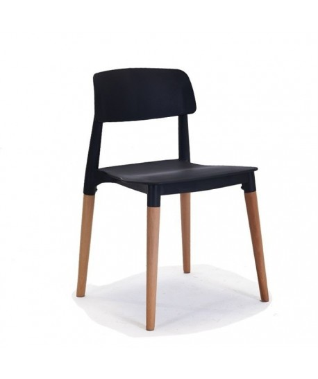 Silla CROSCAT (K), madera, polipropileno negro