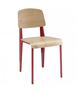 Silla JP, apilable, metal rojo, laminado natural 8090