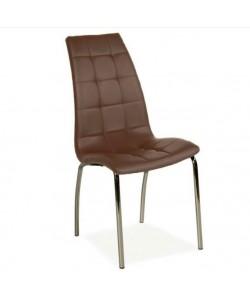 Silla DIEMA, cromada, tapizada marrón