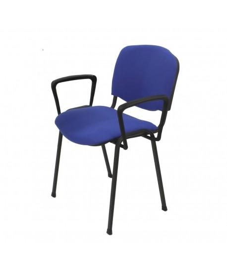 Silla NIZA NEW AM, brazos de polipropileno, chasis negro, tapizado azul