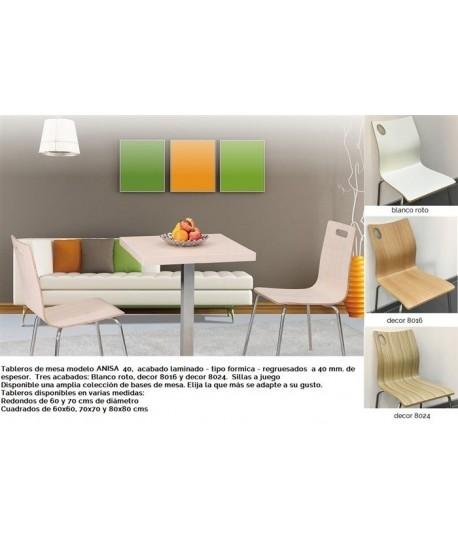 Tablero de mesa ANISA, blanco roto, 60 x 60 cms
