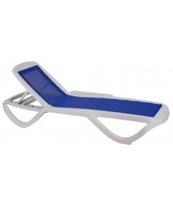 Tumbona CARIHUELA, Apilable polipropileno blanco, textilene azul