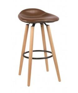 Taburete KROMY, madera, similpiel cuero viejo
