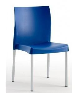 Silla SANDRA, aluminio polipropileno azul*