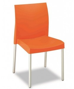 Silla SANDRA, aluminio polipropileno naranja*