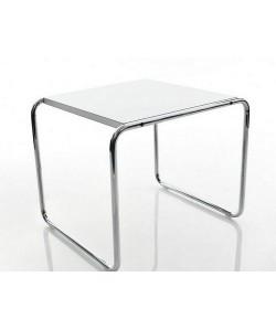 Mesa MB P, baja, acero inoxidable, tapa blanca, 55x48 cms