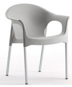 Sillón NILO, aluminio, Apilable polipropileno gris*