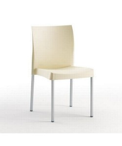 Silla SANDRA, aluminio polipropileno beige*