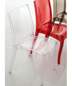 Silla CORINA, policarbonato rojo rubí transparente