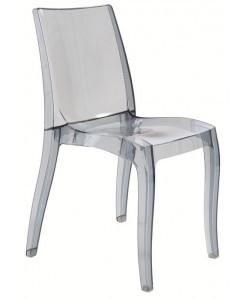 Silla CORINA, policarbonato gris fumé transparente
