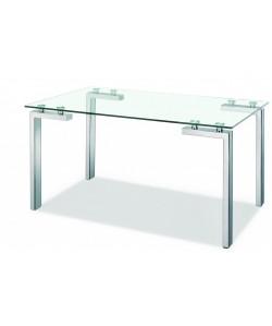 Mesa LAINEY, acero inoxidable, cristal, 140 x 80 cms
