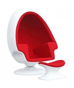 Sillón ALP, con ottoman, blanco, tejido rojo
