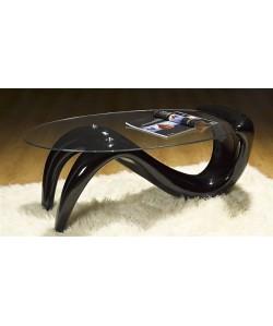 Mesa BODY, baja, fibra de vidrio, negra, tapa cristal