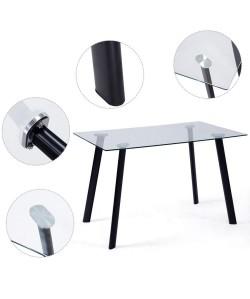 Mesa ATRIUM, metal, negra, cristal transparente, 120 x 80 cms