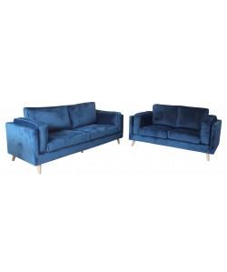 Conjunto de Sofás VALENTINO, 3 y 2 plazas, terciopelo azul
